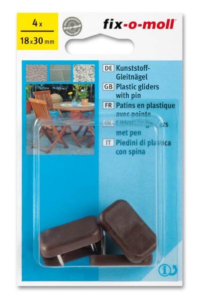 Kunststoff-Gleitnägel fix-o-moll 30 x 18 mm braun