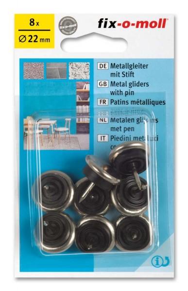 Metallgleiter Möbelgleiter fix-o-moll mit Stift rund 22 mm