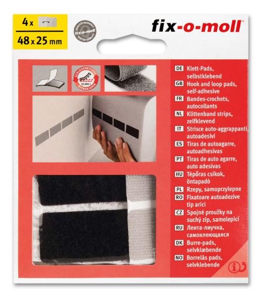 Klettpads fix-o-moll 48mm x 25mm schwarz-grau