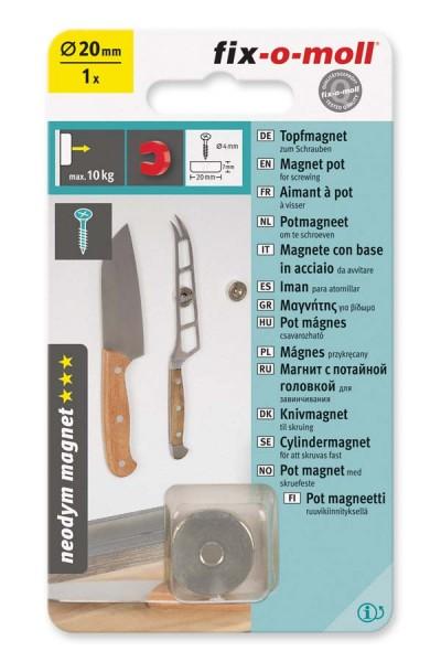 Topfmagnet Neodym fix-o-moll 20 mm