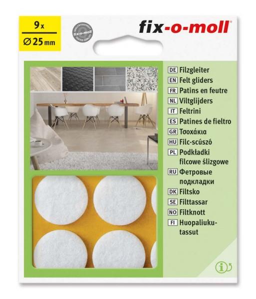 Filzgleiter selbstklebend fix-o-moll rund 25 mm weiß