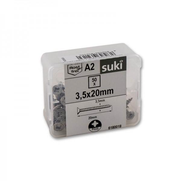 suki Universalschrauben Senkkopf 3,5x20mm PZ2 Edelstahl A2 VG 50St