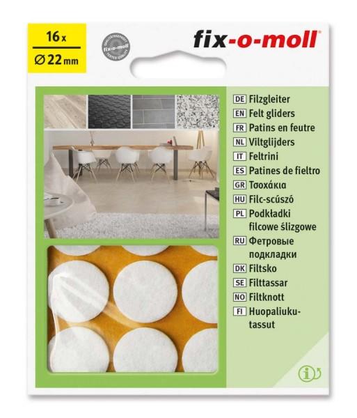 Filzgleiter selbstklebend fix-o-moll rund 22 mm weiß