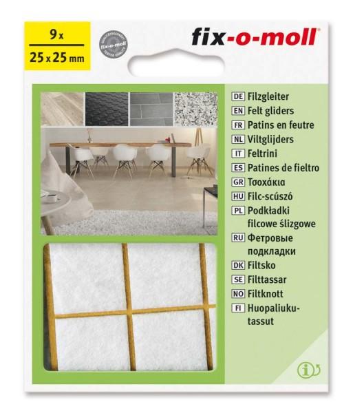 Filzgleiter selbstklebend fix-o-moll 25 x 25 mm weiß