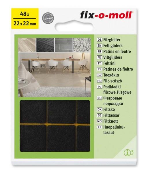 Filzgleiter selbstklebend fix-o-moll 22 x 22 mm Big Pack braun