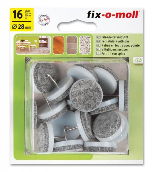Filzgleiter mit Stift fix-o-moll rund 28 mm Sparpack weiß