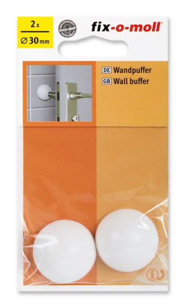 Wandpuffer rund 30mm weiß fix-o-moll
