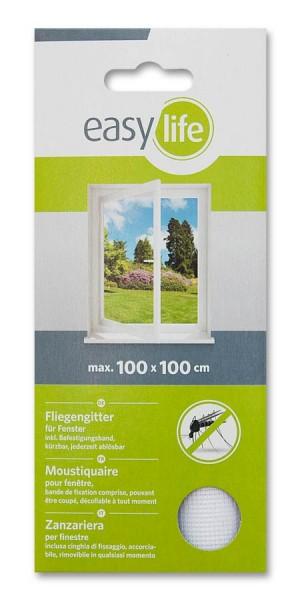 Fliegengitter Insektenschutz easy life für Fenster 100 x 100cm weiß