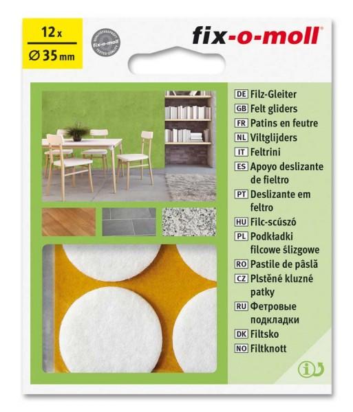 Filzgleiter selbstklebend fix-o-moll rund 35 mm Big Pack weiß