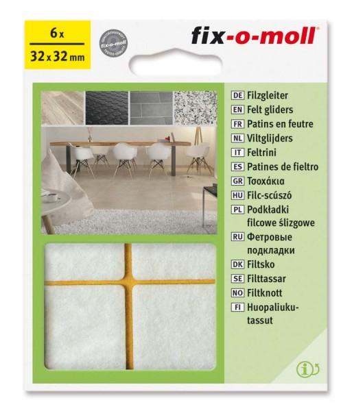 Filzgleiter selbstklebend fix-o-moll 32 x 32 mm weiß