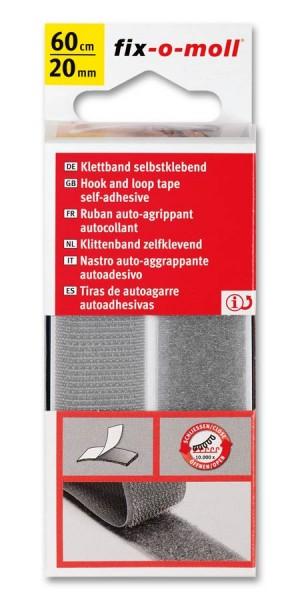 Klettband fix-o-moll selbstklebend 60cm x 20mm hellgrau