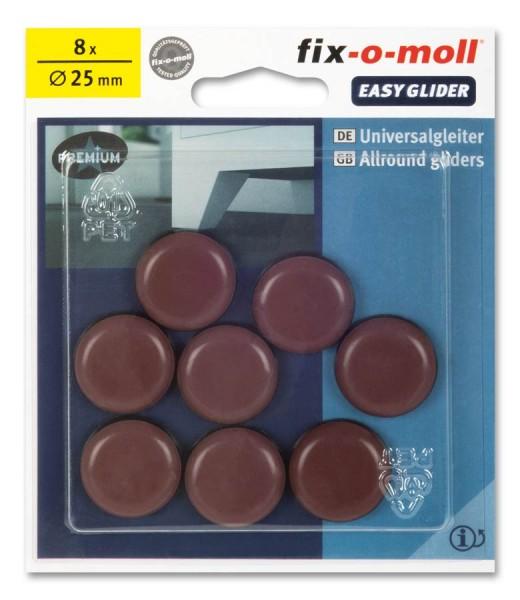 fix-o-moll PTFE Universal Gleiter selbstklebend rund 25 mm braun