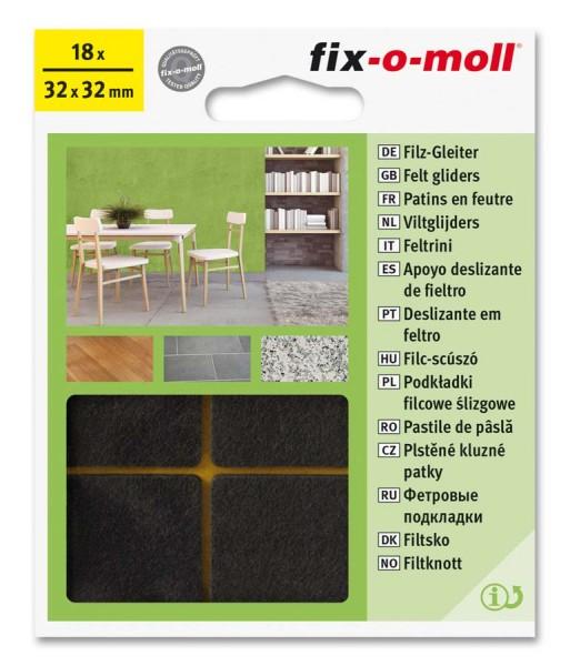 Filzgleiter selbstklebend fix-o-moll 32 x 32 mm Big Pack braun