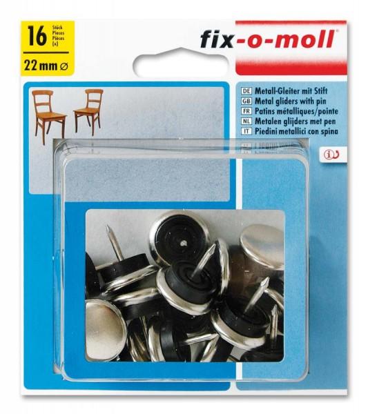 Metallgleiter mit Stift rund 22mm Sparpack fix-o-moll