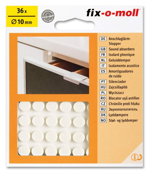 Anschlaglärm-Stopper rund 10mm weiß fix-o-moll
