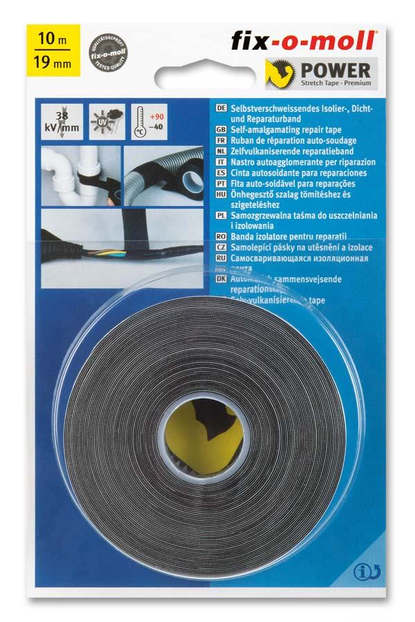 fix-o-moll Power-Stretch-Band schwarz 10m x 19mm