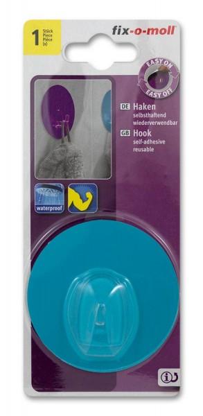 Haken selbsthaftend fix-o-moll rund 68mm blau