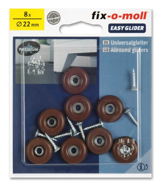 PTFE Universal Gleiter fix-o-moll rund 22 mm S braun