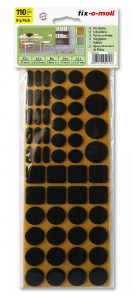 Filzgleiter Sortiment selbstklebend fix-o-moll 110-teilig 2 Farben