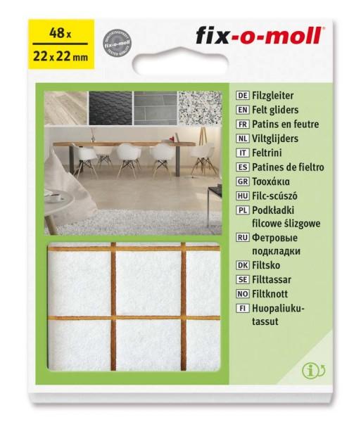 Filzgleiter selbstklebend fix-o-moll 22 x 22 mm Big Pack weiß