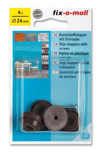 Kunststoffstopper mit Schraube fix-o-moll 24mm braun