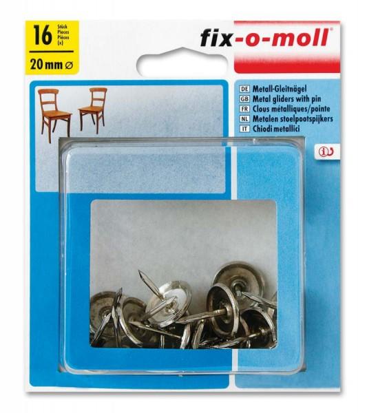 fix-o-moll Metall-Gleitnägel Möbelgleiter rund 20 mm