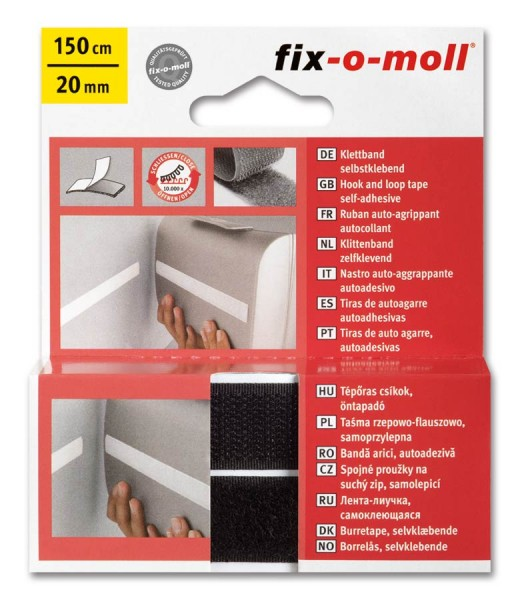 Klettband fix-o-moll selbstklebend 150cm x 20mm schwarz