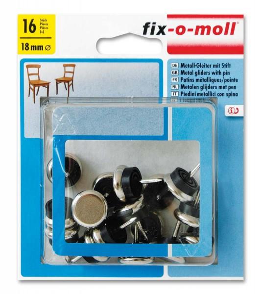 Metallgleiter mit Stift rund 18mm Sparpack fix-o-moll