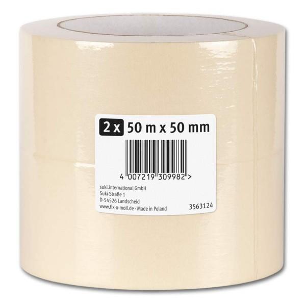 Kreppband Flachkrepp fix-o-moll 50m x 50mm 2er VE