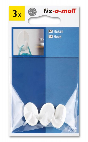 Handtuchhaken selbstklebend fix-o-moll 19 x 32 mm weiß