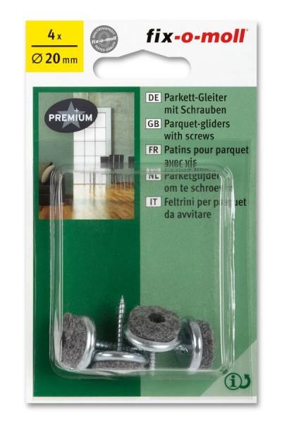 Parkettgleiter zum Schrauben fix-o-moll rund 20 mm